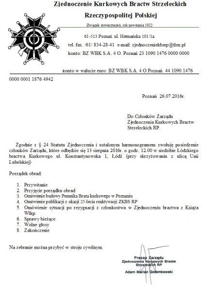 2016.08.13- Zarząd Zjednoczenia